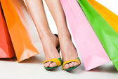Legs and bags — Stock Photo