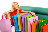 Looking through shoppingbags — Stok fotoğraf