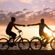 Stock Photo: Riding bicycles