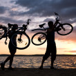 Stock Photo: Carrying bikes