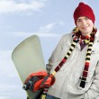 Stock Photo: Guy with snowboard