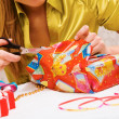 Wrapping gifts — Stock Photo
