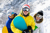 Cheerful snowboarders — Stock Photo