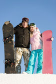 Happy snowboarders — Foto de Stock
