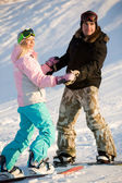 Couple of snowboarders — Stock Photo