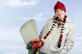Guy with snowboard — Stock Photo