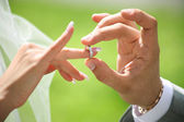 Grooms hand putting wedding ring on brides finger — Stock Photo