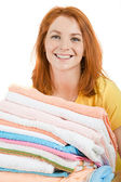 Happy housekeeper — Stock Photo