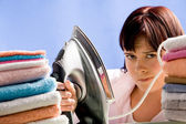 Reluctant to iron — Stock Photo