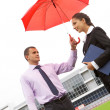 Under umbrella — Stock Photo