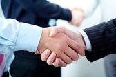 Row of handshakes — Stock Photo