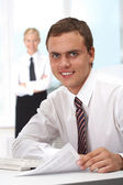 Boss at workplace — Stock Photo