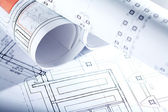 Drafts of new house — Stock Photo