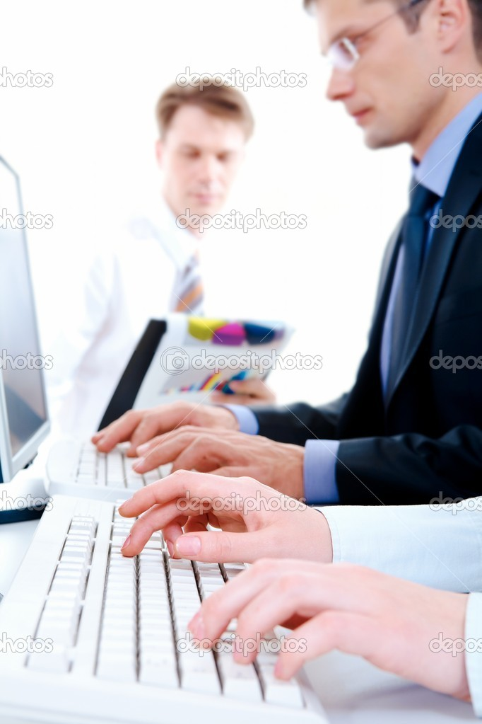 Image of secretary hands typing document on the background of working — Stok fotoğraf #11241513