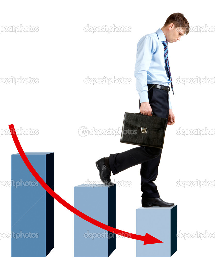 Image of sad businessman walking downstairs  Stock Photo #11242203