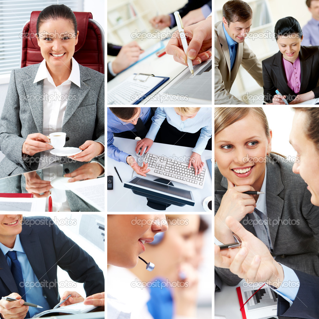 Collage with businesspeople and teamwork moments in different situations — Stock Photo #11309989