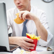 Постер, плакат: Eating at work