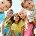 Five happy kids — Stock Photo