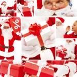 Santa and gifts — Stock Photo