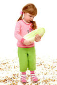 Girl with cabbage — Stock Photo