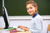 Boy typing — Stock Photo