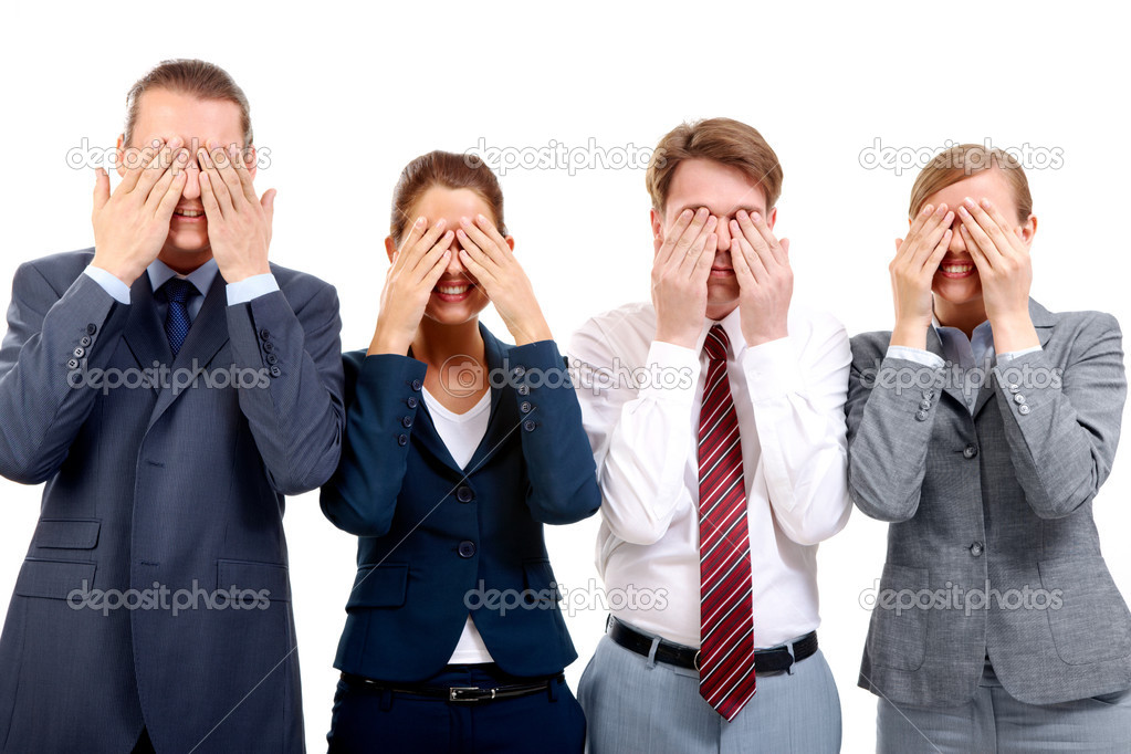 Row of business partners closing their eyes by hands and smiling — Stock Photo #11310643