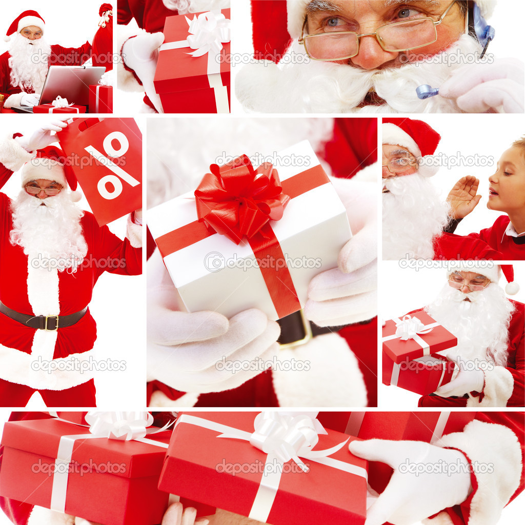 Collage of Santa Claus, red giftboxes and sale symbols — Stock Photo #11312753