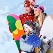 Stock Photo: Snowboarders