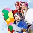 Family of snowboarders — Stock Photo