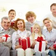 Family with gifts — Stock Photo