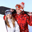 Happy snowboarders — Stock Photo