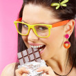 Stock Photo: Eating chocolate
