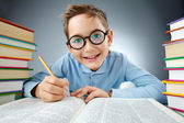 Clever schoolkid — Stock Photo