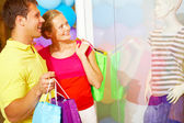 Shoppers in trade center — Stock Photo