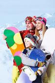 Famille de surfeurs des neiges — Photo
