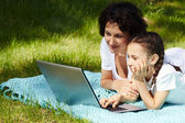 At leisure with laptop — Stock Photo