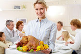Woman with turkey — Stock Photo