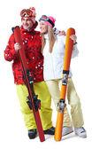 Happy skiers — Stock Photo