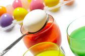 Egg on spoon — Stock Photo