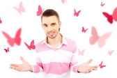 Guy with butterflies — Stock Photo