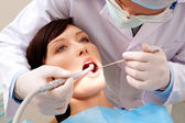 Examining oral cavity — Foto Stock