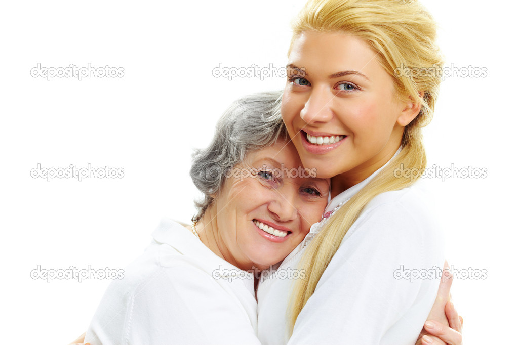 Portrait of pretty girl and senior woman embracing each other — Stock Photo #11335921