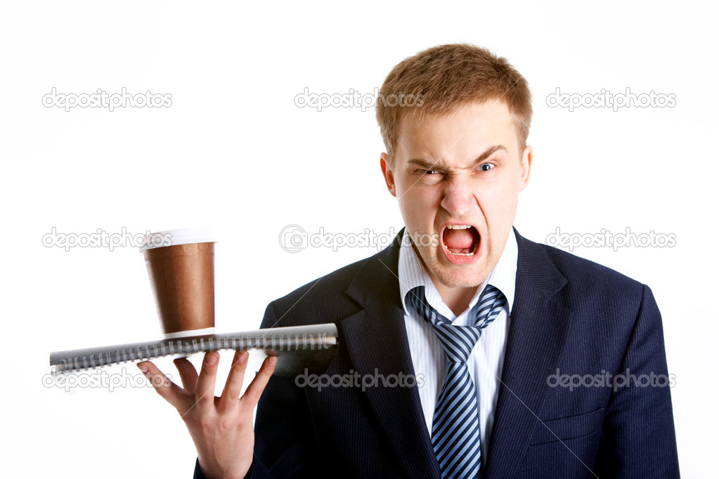 Portrait of young dissatisfied businessman shouting in isolation — Stock Photo #11337732