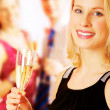 Lady with champagne — Stock Photo