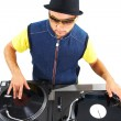 Working disc jockey — Stock Photo