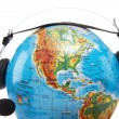 Globe with headset — Stock Photo