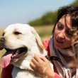 Stock Photo: Dog and woman