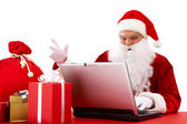 Sending xmas e-mail — Stock Photo