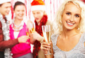 Girl with champagne — Stock Photo
