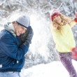 Stock Photo: Playing snowballs